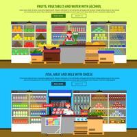 Bannières intérieures de supermarché