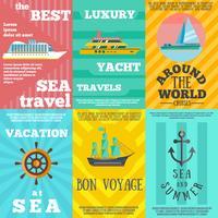 Composition de 6 icônes plates de voyage de croisière