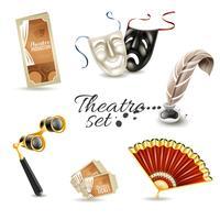 Ensemble de pictogrammes plat d'attributs de théâtre vecteur
