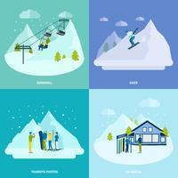 Ensemble de concept de design d'hiver pour le repos actif en montagne
