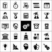icônes universitaires noir vecteur