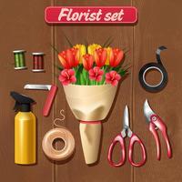 Ensemble d'accessoires de fleuriste vecteur