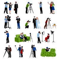Photographe et vidéographe Icons Set vecteur