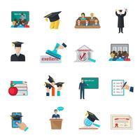 Ensemble d'icônes de l'enseignement supérieur vecteur
