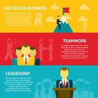 Ensemble de bannières horizontales de leadership vecteur