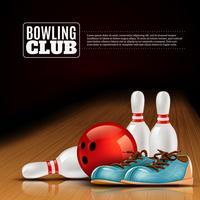 Affiche du club intérieur de la ligue de bowling vecteur