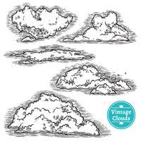 Ensemble de nuages dessinés à la main vecteur