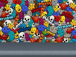 Personnages de graffiti sur le modèle de mur vecteur
