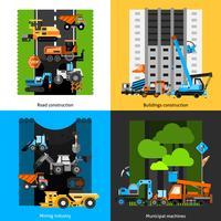 Jeu d'icônes de l'industrie de la construction