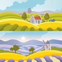 Bannière de paysage rural vecteur