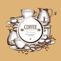 Set de café affiche de composition de style vintage