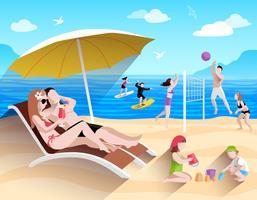 Gens sur la plage
