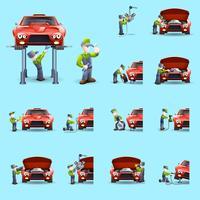 Ensemble d'icônes plat mecanicien auto