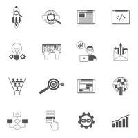 Ensemble d'icônes Web noir vecteur