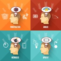Place du concept 4 icônes de stress