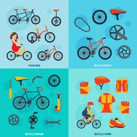Bannière carrée du vélo 4 icônes plates
