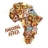 Concept d'esquisse d'Afrique vecteur