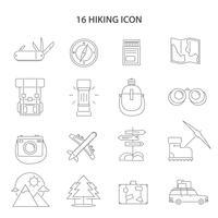 Randonnée Ligne Icons Set