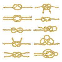 Jeu d'icônes décoratif noeud de corde