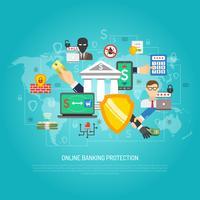 Affiche de concept de protection bancaire en ligne