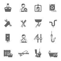 Icônes de plombier noir
