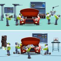 Ensemble de bannières plat de service de mécanicien automobile