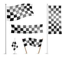 Collection de pictogrammes de drapeaux à damier vecteur