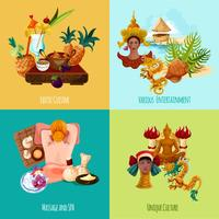 Ensemble touristique en Thaïlande vecteur