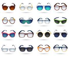 Jeu d'icônes de miroir de réflexion mode lunettes de soleil