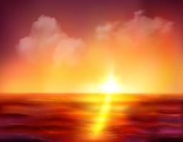 Lever de soleil sur l'océan vecteur