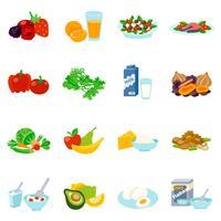 Aliments sains plats ensemble d'icônes vecteur