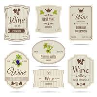 Jeu d'étiquettes de vin vecteur