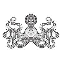 Doodle croquis ligne noire de pieuvre