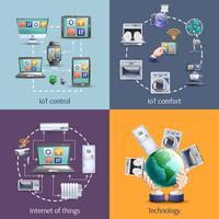 Internet des objets 4 icônes plates