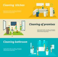 Nettoyage dans les chambres Ensemble de bannières plates vecteur