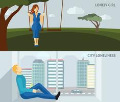 bannière de gens solitaires vecteur