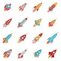 jeu d'icônes de fusée vecteur