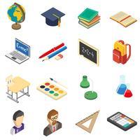 École isométrique icônes définies