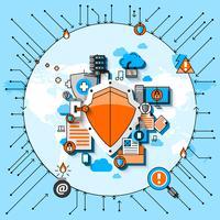 Concept de ligne de sécurité des données vecteur