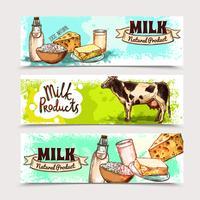 Ensemble de bannière de produits laitiers vecteur