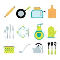 Accessoires de cuisine outils plats icônes définies vecteur