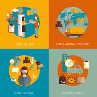 Concept de livraison logistique 4 icônes plats