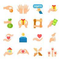 Faire un don et donner un jeu d'icônes vecteur