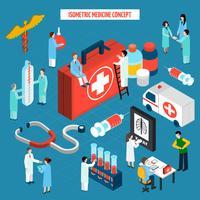 Bannière de composition isométrique médecine concept de soins de santé vecteur