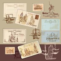 Modèle de cartes postales anciennes vecteur