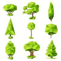 Ensemble de pictogrammes abstrait arbres vecteur