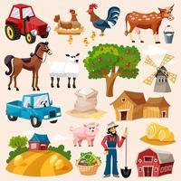 Jeu d'icônes de ferme vecteur