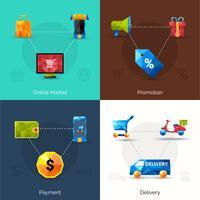 icônes polygonales de commerce électronique