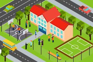 Affiche de composition isométrique de zone de construction scolaire vecteur