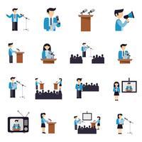 Parler en public icônes plat